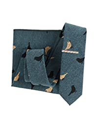 Houlife Men's Cotton Skinny Tie And Pocket Square Set With Free Tie Bar Clip (Pattern 2)
