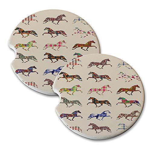 Quarter Horse Pattern - Absorbant Sandstone Car Drink Coaster Set (Set of 2 car Coasters)