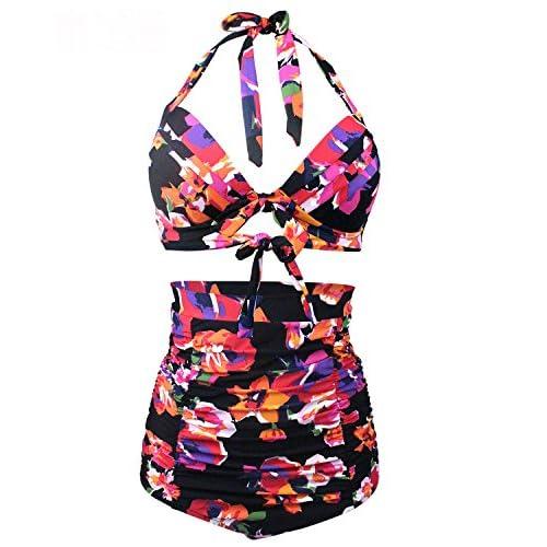 352d1b93ba867 50%OFF BeachQueen Women Two Piece Retro Floral Print High Waisted Bikini  Set Bathing Suit