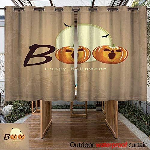 RenteriaDecor Outdoor Curtain for Patio Halloween Poster Design with Scary Pumpkins and Text Boo W84 x -