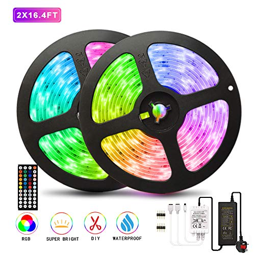 AveyLum 10M LED Strip Light RGB Soft Tape Lights 5050 SMD RGB 300 LEDs Waterproof IP65 Rope Light with 44 Keys Wireless Remote Control and 12V Power Adapter for Home Kitchen Party Festival Deco