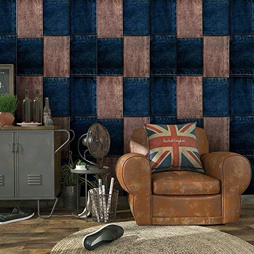 - 6017 Jeans Cloth Texture Wallpaper Rolls Tan/Blue Vinyl Wallpaper Home Restaurant Bar Wall Decoration 20.8