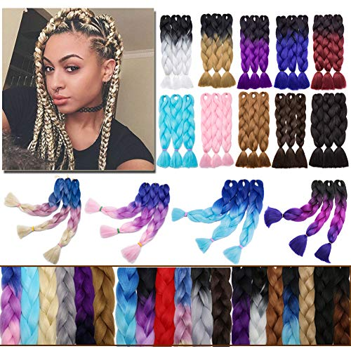 Ombre Jumbo Braiding Hair Blue to Purple to Pink 3 Bundles Crochet Twist Hair Extensions 24 inch Three-Tone Long Box Braids Heat Resistance Synthetic Hair for Women DIY Fun(24