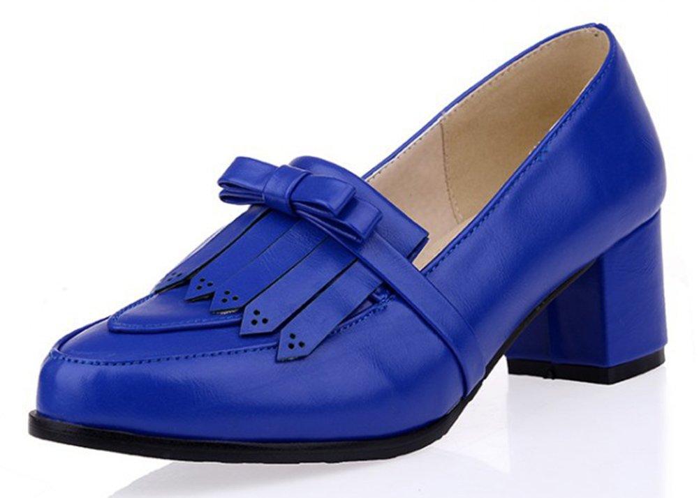 SFNLD Women's Retro Bow Fringe Pointed Toe Block Heel Slip On Comfy Pumps Shoes Blue 5.5 B(M) US