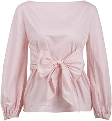 GLOGLOW Camisa Casual de Dama de Mujer, Cuello de Barco, Manga ...