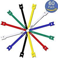 【60本セット】iXCC 強力 マジック テープ 面ファスナー 収納バンド 結束バンド ベルクロ テープ ケーブル/コード等収納