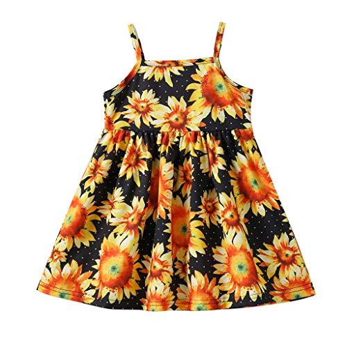 Sweet Lace Vest Petal Dress Baby Girls Princess Dress Pageant Sleeveless Print Dresses Orange