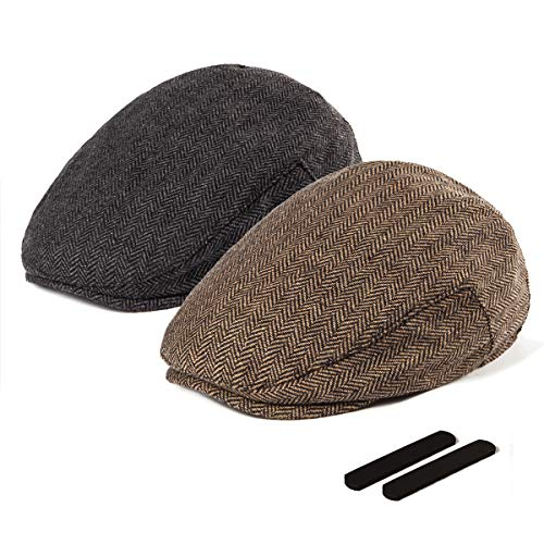 LADYBRO Black+Brown Wool Newsboy Cap - Men Hat Tweed Driving Scally Cap Ivy Hat Gift for Men 2Pack -