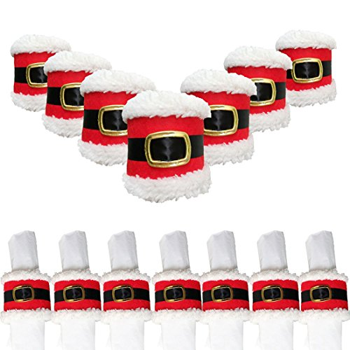 Trinkets Dream Set of 7 Christmas Santa Belts Napkin Rings Holder Serviette Holiday Party Banquet Dinner Dining Table Decor Xmas Ornaments by Trinkets Dream