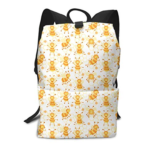 Liumong A Busy Honeycomb of Bees Book Bag Holder Travel Back Backpack School Travel Hiking Small Mini Gym Teen Little Girls Youth Kid Women Men Printed Patterned ()