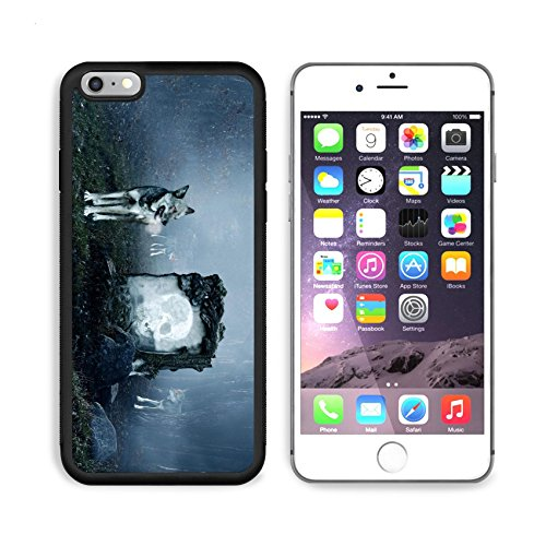 MSD Premium Apple iPhone 6 Plus iPhone 6S Plus Aluminum Backplate Bumper Snap Case Wolves guarding an old grave in a dark forest IMAGE 15631515 by MSD Customized Premium