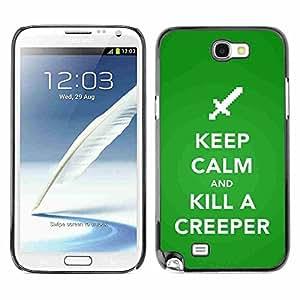 Shell-Star ( Funny Keep Calm Creeper ) Fundas Cover Cubre Hard Case Cover para Samsung Galaxy Note 2 II / N7100