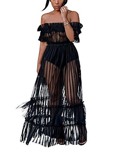 Sprifloral Women Black Cover up Sheer Long Dress Off Shoulder Pleated Skirts - Skirt Set Mesh