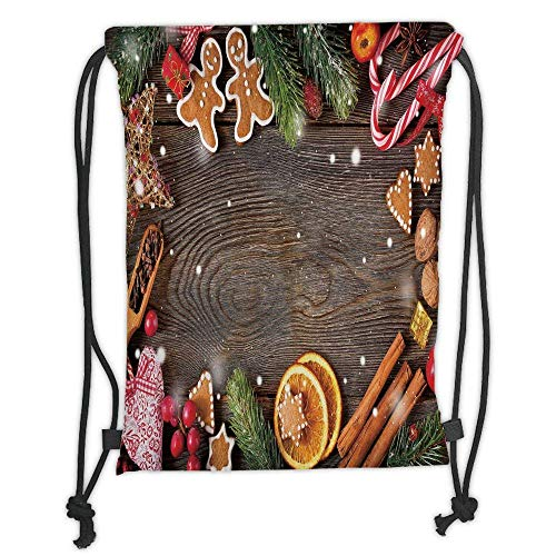 - Custom Printed Drawstring Backpacks Bags,Gingerbread Man,Festive Christmas Frame with Spices Biscuits Decorative Elements on Table Decorative,Multicolor Soft Satin,5 Liter Capacity,Adjustable Str