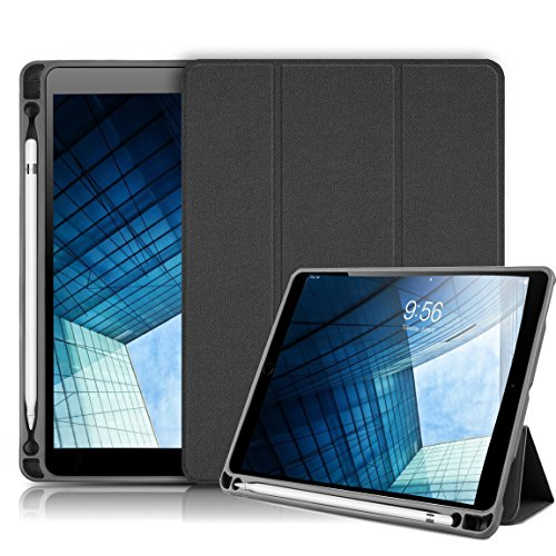 New iPad 9.7 inch 2018/2017 Case with Pencil Holder,iLuen Ultra Slim Lightweight Smart Cover Trifold Stand with Auto Wake/Sleep Magnet Protective Funcion,Hard Back Cover for iPad 6th/5th Generation