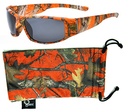 Hornz Orange Camouflage Polarized Sunglasses for Men Full Frame Wide Arms & Free Matching Microfiber Pouch – Orange Camo Frame - Smoke - Camo Sunglasses