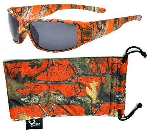 Hornz Orange Camouflage Polarized Sunglasses for Men Full Frame Wide Arms & Free Matching Microfiber Pouch – Orange Camo Frame - Smoke - Sunglasses Polarized Orange