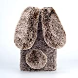 Amocase for Samsung Galaxy S21 Plus 5G Faux Furry Case with 2 in 1 Stylus,Luxury Bling Diamond 3D Bowknot Cute Winter Warm Brown Bunny Rabbit Fuzzy Fluffy Plush Soft Fur Silicone Case