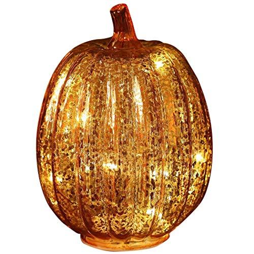 denlix Mercury Glass Pumpkin Lights with Timer for Fall, 7.7