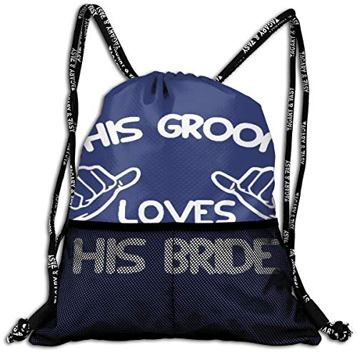 This Groom Loves His Bride Drawstring Bag Swiming