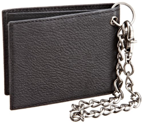 Dickies Men's Leather Slimfold Wallet With Chain,Black,One Size