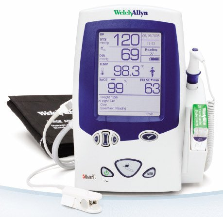 Lxi Spot Vital Signs (Welch Allyn 450T0-E1 Spot Lexi Vital Signs Device with SureTemp Plus Thermometry, Surebp Non-Invasive Blood Pressure, Pulse Rate, Map, Bai Calculation, 50-Reading Memory)