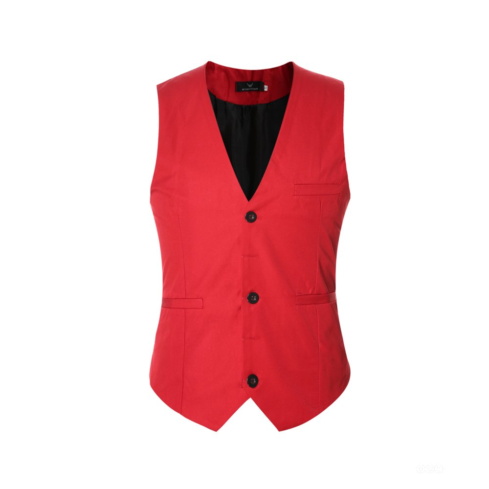EHOMEBUY Men's Suit Waistcoat Slim Fit Formal Classic Suit Vest V-Opening with Pockets Multiple Colours