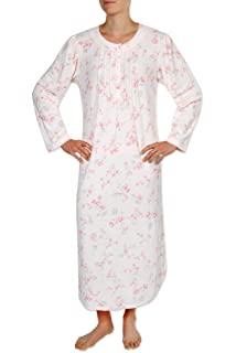 d6adf14c76 Miss Elaine Women s Long Nightgown - Brushed Honeycomb Knit with Long  Sleeves and a Round Neckline