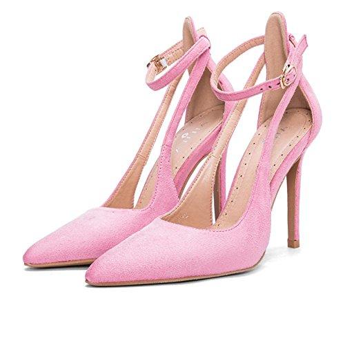 L@YC® Sandalias De Mujer Verano Palabra Salvaje apuntó Zapatos TacóN alto Con Correas Zapatos Baile Pink