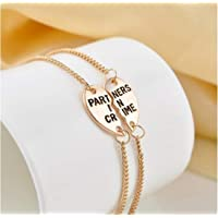 Heyuni.2pcs Partners In Crime Anklet Bracelet Set BFF Matching Best Friend Gift Random Color