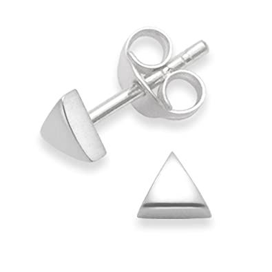 4c9cc6c16 Sterling Silver Triangle Stud Earrings - SIZE: 4mm. Gift Boxed 5335.:  Amazon.co.uk: Jewellery
