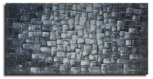Textured Abstract Squares Canvas Wall Art Hand Painted Modern Silver Oil Painting for Decoration Ready to Hang 48x24inch