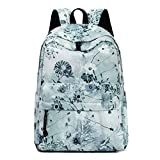Leaper Floral Backpack Girls School Bookbag Daypack Shoulder Bag Ash green