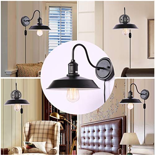 Kingmi Dimmable Wall Lamp Black Industrial Vintage Farmhouse Wall Sconce Lighting Gooseneck Wall Light Fixture with Plug in Cord and On Off Toggle Switch for Bedroom Nightstand, Set of 2