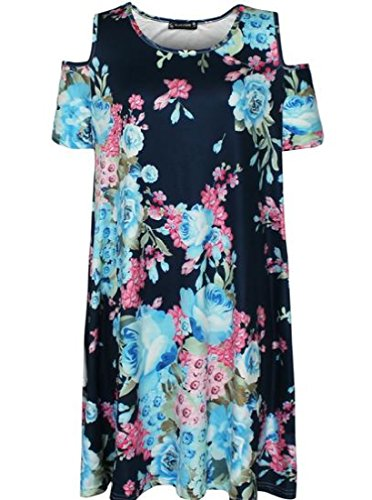 Casual Dress Off Floral As2 Mini Size s Women Coolred Plus Shoulder Printed wWq7Ufzvf