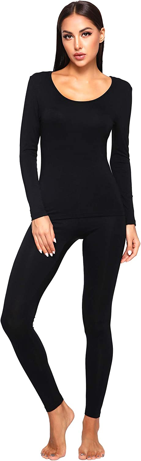 WiWi Women's Ultra Soft Bamboo Underwear Long Johns Sets Lightweight Pajamas Set Base Layer Top with Bottoms S-3X at  Women's Clothing store
