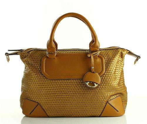 Designer Inspired Montaigne Satchel – Gold, Bags Central