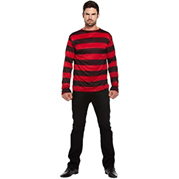 e454db03da83 Jersey de Adulto Para Disfraz A Rayas (Negro/Rojo): Amazon.es: Juguetes y  juegos