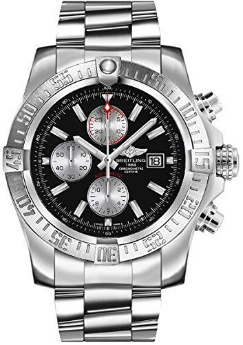 Breitling Men's BTA1337111-BC29SS Super Avenger II Analog Display Swiss Automatic Silver Watch (Breitling Bracelet Water Resistant)