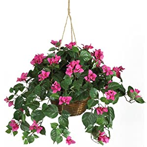 Nearly Natural 6608 Bougainvillea Hanging Basket Decorative Silk Plant, Beauty 113