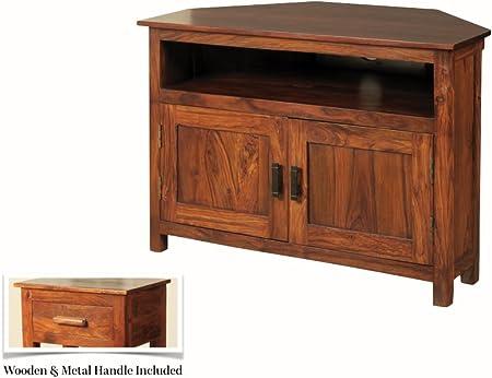 Sheesham Madera de Palisandro – Mueble de Esquina para televisor Thakat de Esquina para televisor de Plasma – Acabado: Mid marrón Sheesham – Muebles de salón: Amazon.es: Hogar