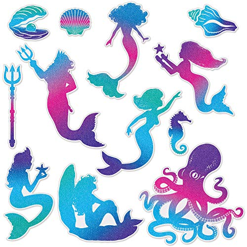 Little Mermaid Cutouts (J&J's ToyScape 12 Pcs Mermaid Glitter Cutouts Decoration | Themed Party)