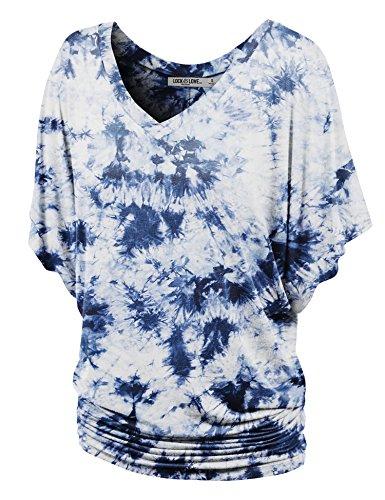 WT1116 Womens V Neck Short Sleeve Tie Dye Drape Dolman Top M - Shirt Kimono Knit Sleeve