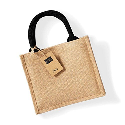 Mini Jute (Westford Mill Jute Mini Gift Bag (6 Liters) (One Size) (Natural/Black))