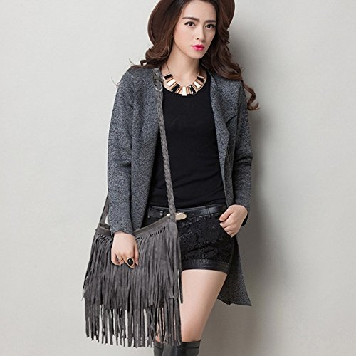 Shoulder bag Messenger Faux Women Grey Hobo Tassel Sling Crossbody bag bag JIARUO Ladies Fringe Suede vaW4q