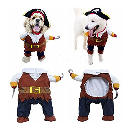 UEETEK Pet Cat Dog Clothes Costume Dress Pirate Suit Apparel with Hat