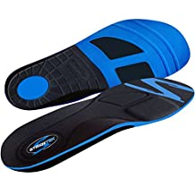 Stridetek Tactical Trainer Orthotic Insoles - Arch Support Metatarsal Pad & Gel Plugs Prevent Foot Pain Plantar Fasciitis & Shin Splints - (Blue) - Mens 8 / Womens 9
