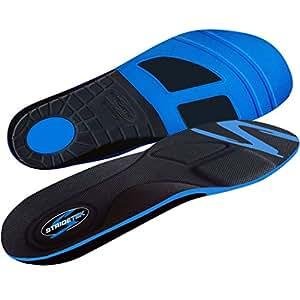 Stridetek Tactical Trainer Orthotic Insoles - Arch Support Metatarsal Pad & Gel Plugs Prevent Foot Pain Plantar Fasciitis & Shin Splints - (Blue) - Mens 10 / Womens 11