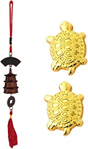 Divya Mantra Japanese Lucky Charm Money Turtle Pair & Feng Shui Bell Tibetan Car Rear View Mirror Decor Accessories Home Window Decoration Wind Chime Bronze Dragon Coin, Pagoda Hanging - Brown, Gold