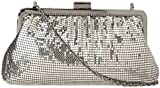 Whiting & Davis Contemporary Shirring Clutch,Pewter,one size
